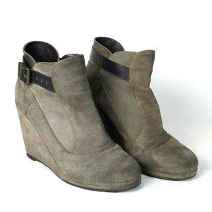 ALLSAINTS 8 Gray Suede Wedge Bootie Ankle Strap